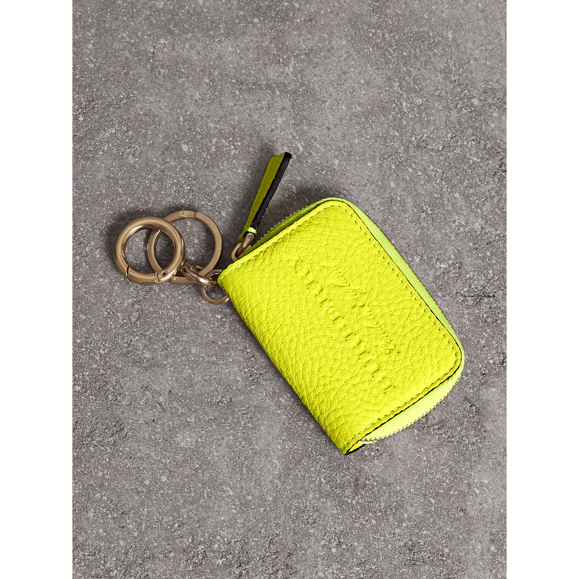 Embossed Leather Notebook Charm in Bright Yellow | Burberry Australia - gallery image 0