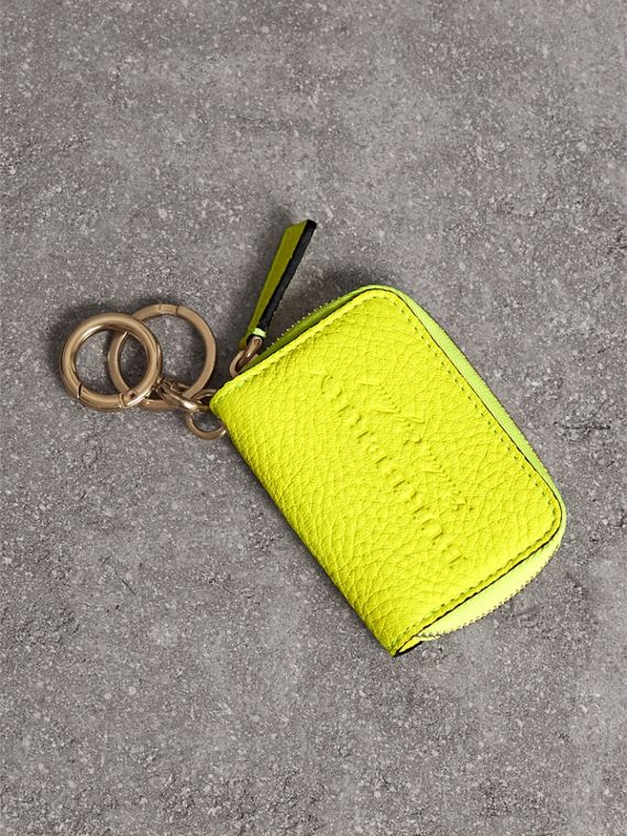 Embossed Leather Notebook Charm in Bright Yellow