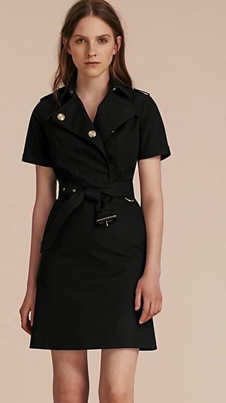 Short-sleeved Cotton Gabardine Trench Dress