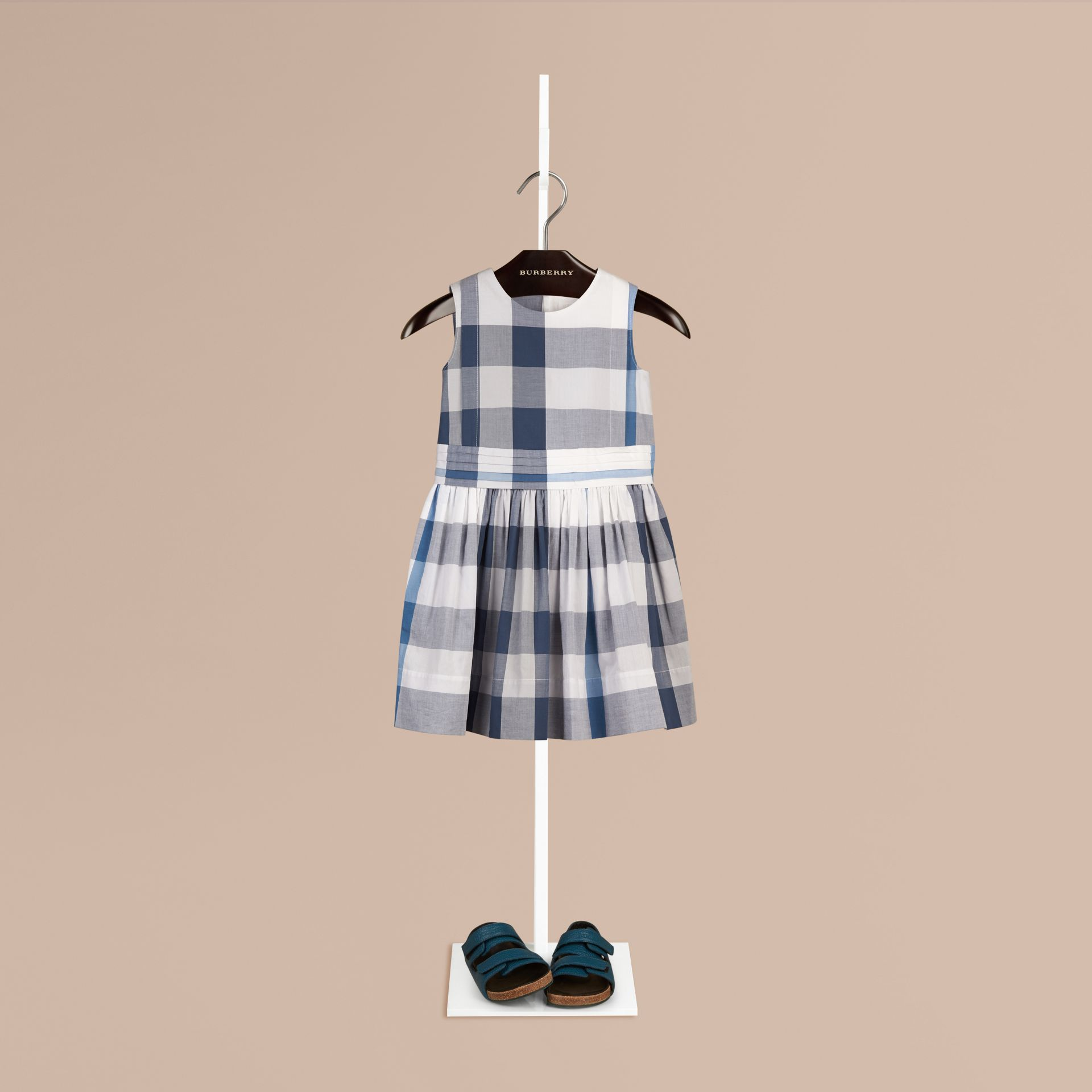 Ink blue Sleeveless Check Cotton Dress Ink Blue - gallery image 1