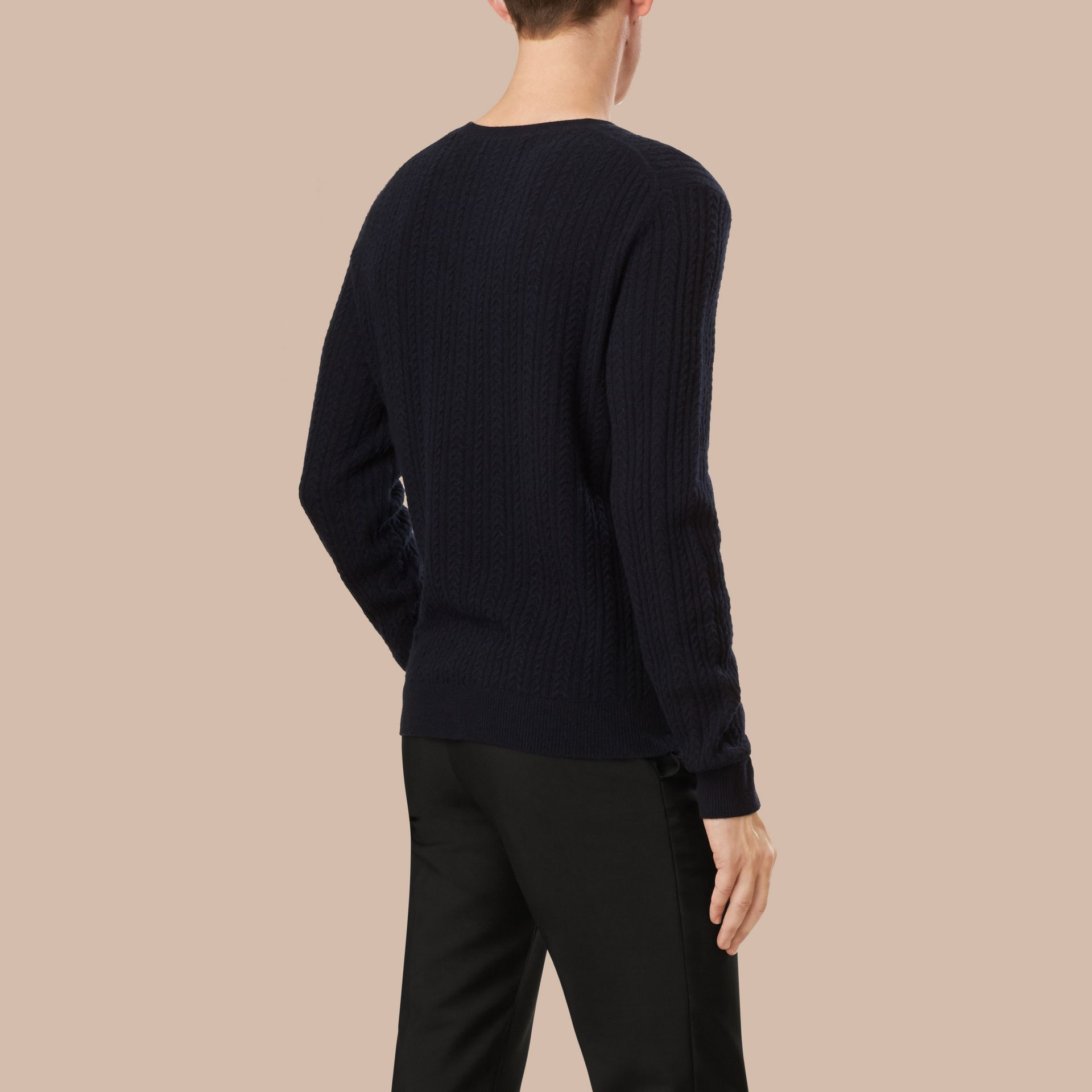 Navy Aran Knit Cashmere Sweater Navy - gallery image 4