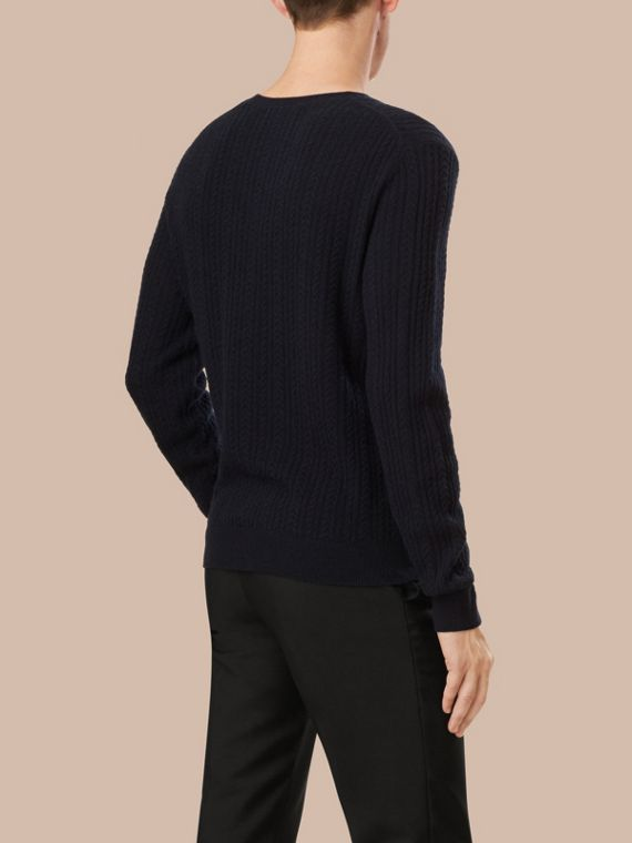Navy Aran Knit Cashmere Sweater Navy - cell image 3