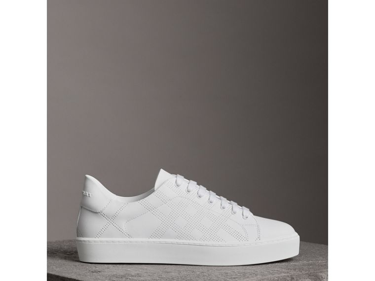 Perforated Check Leather Sneakers in Optic White - Women | Burberry United States - cell image 4