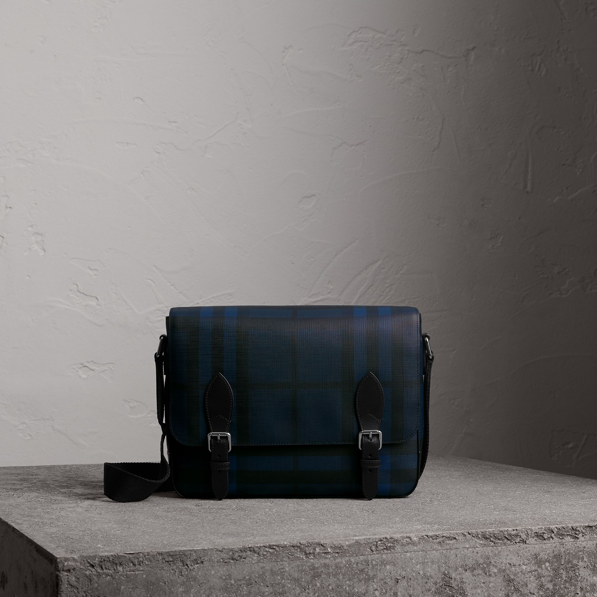 Medium Leather Trim London Check Messenger Bag in Navy/black - Men | Burberry - gallery image 0
