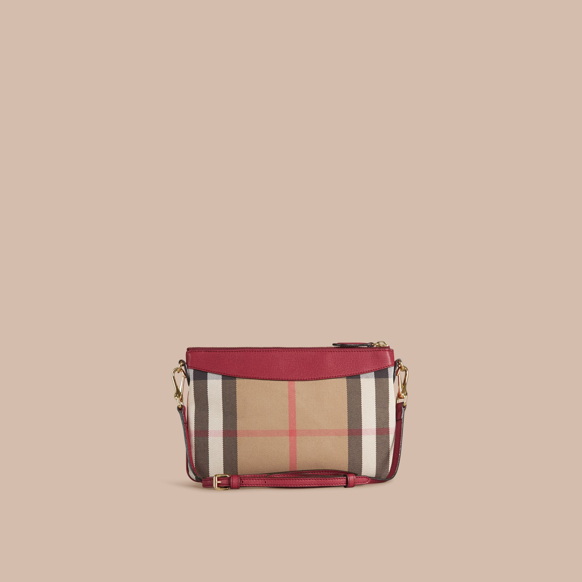 Clutch en coton House check et cuir (Rouge Militaire) - Femme | Burberry - photo de la galerie 3