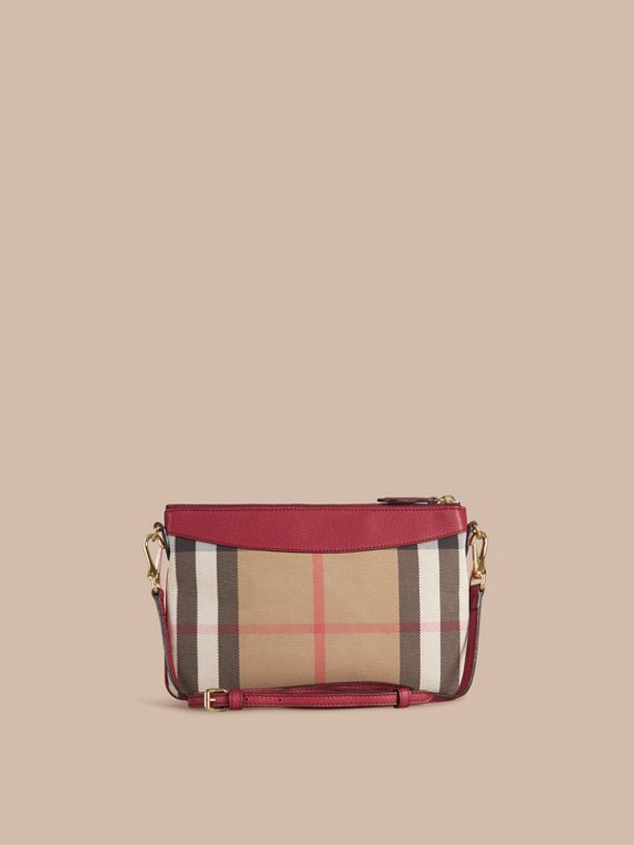 House Check and Leather Clutch Bag in Military Red - cell image 2