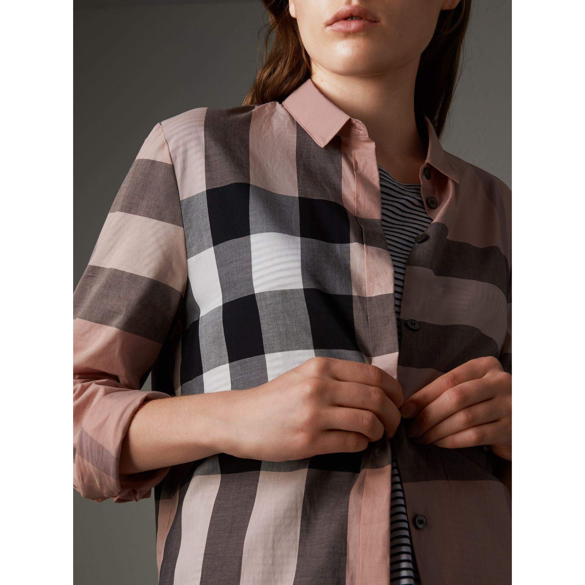 Check Cotton Shirt in Antique Pink - Women | Burberry - gallery image 2