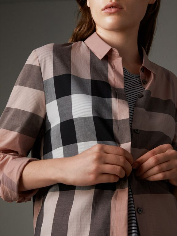 Check Cotton Shirt in Antique Pink - Women | Burberry United Kingdom - cell image 1