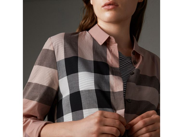 Check Cotton Shirt in Antique Pink - Women | Burberry - cell image 1