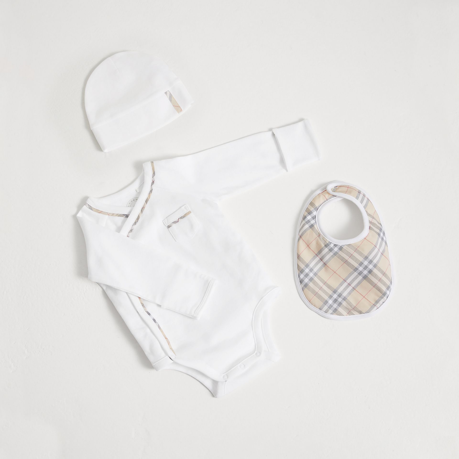 Check Cotton Three-piece Baby Gift Set in White | Burberry Australia - gallery image 0