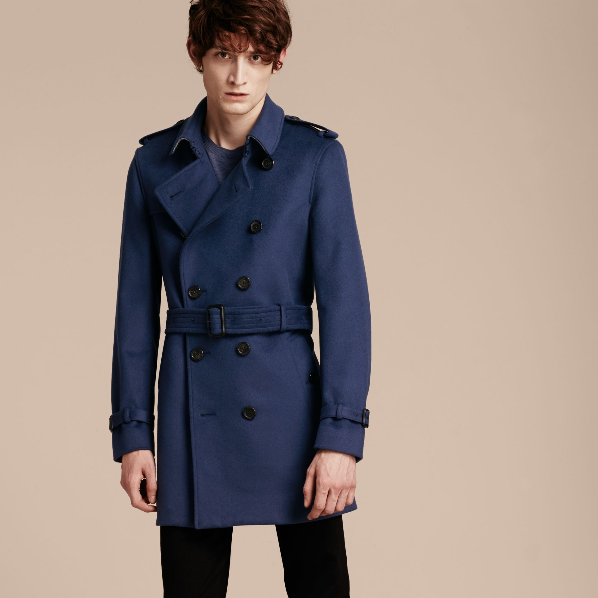 Bright steel blue Wool Cashmere Trench Coat - gallery image 8