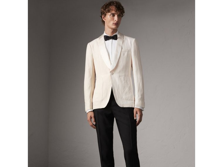 Modern Fit Shawl Lapel Linen Silk Evening Jacket in Off White - Men | Burberry - cell image 4