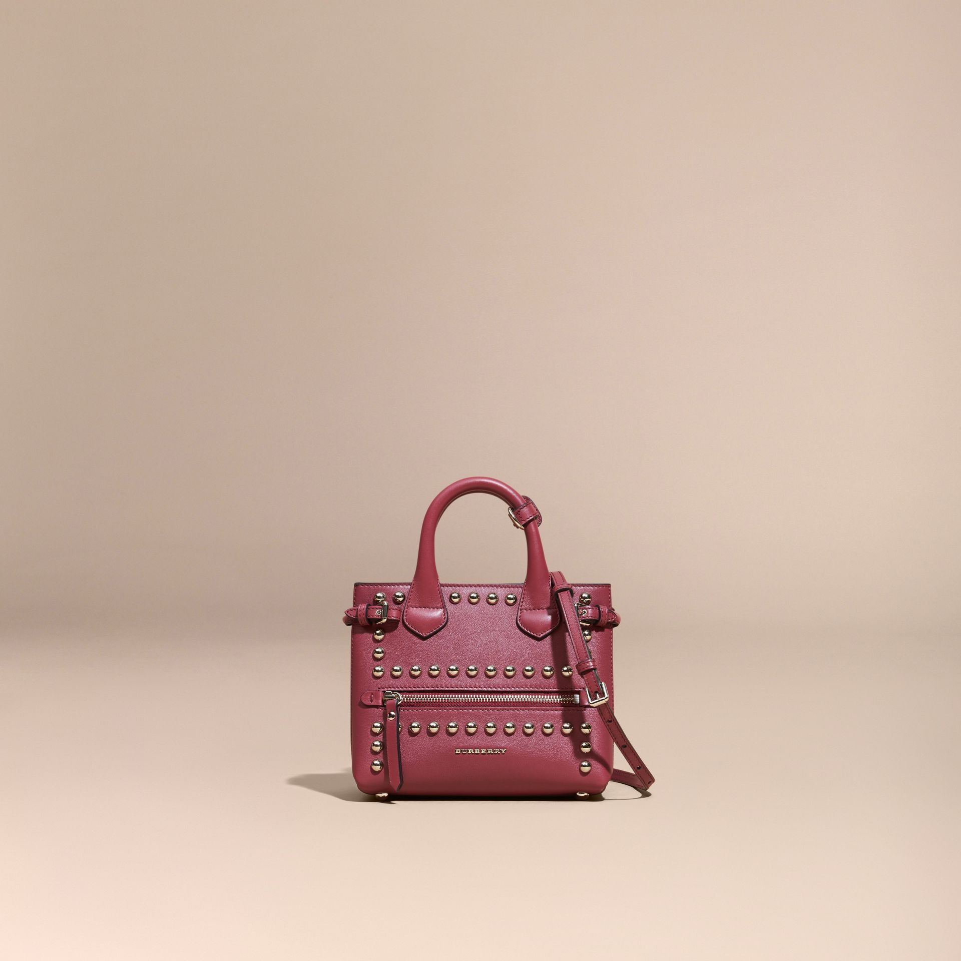 Garnet pink The Baby Banner in Studded Leather and House Check - gallery image 8