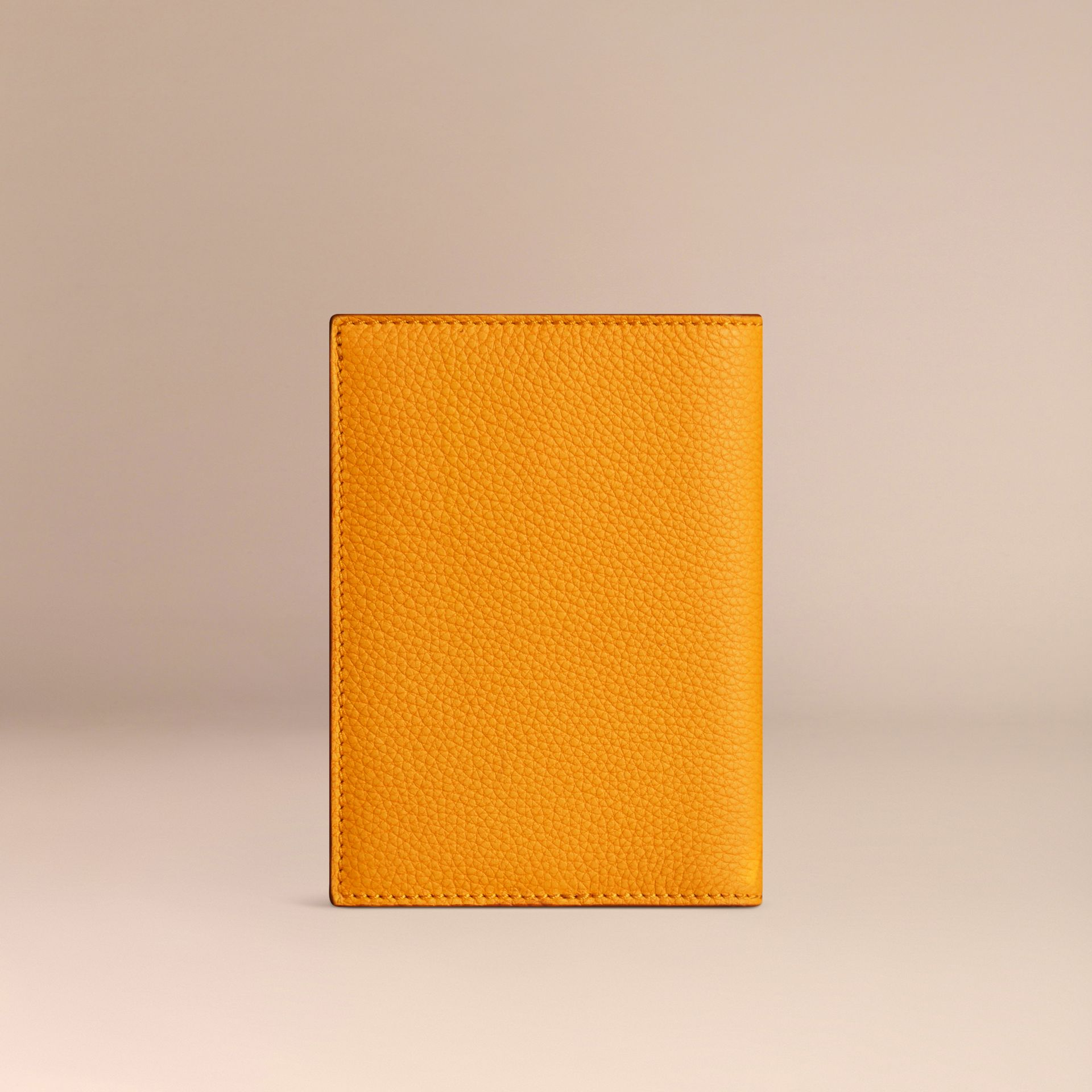 Grainy Leather Passport Cover in Ochre Yellow | Burberry - gallery image 3