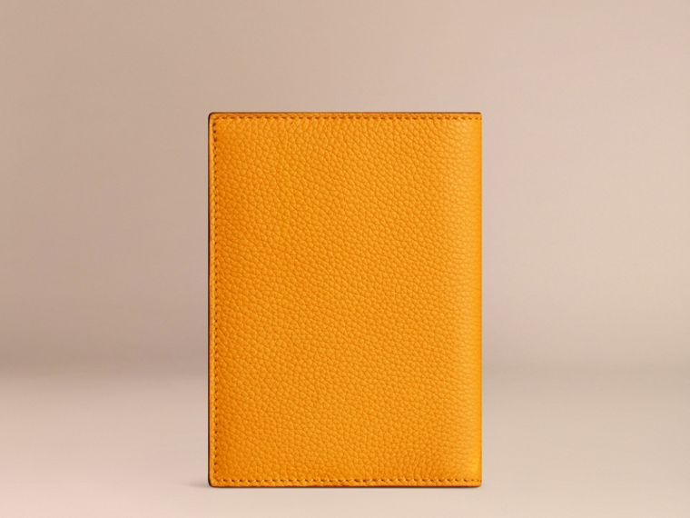 Grainy Leather Passport Cover in Ochre Yellow | Burberry - cell image 2