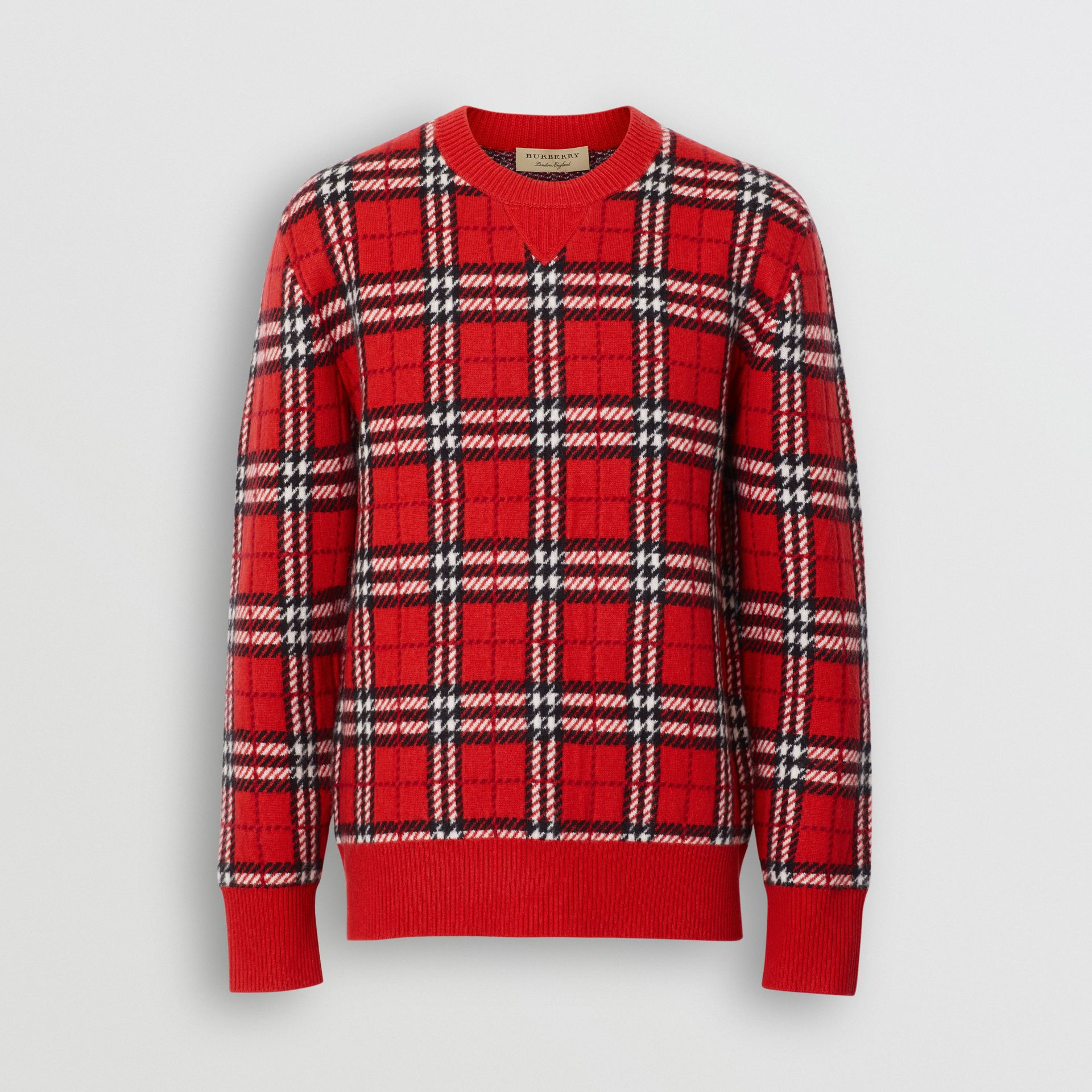 Check Cashmere Jacquard Sweater in Parade Red - Men | Burberry - gallery image 3
