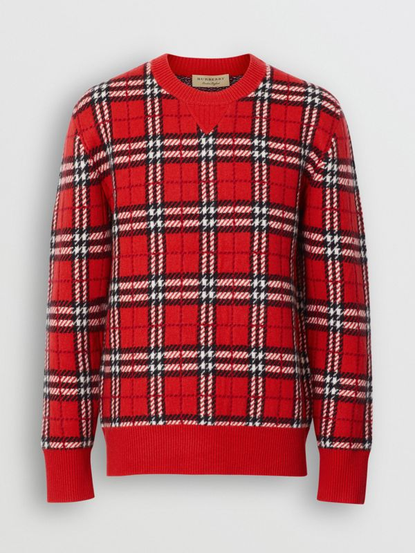 Check Cashmere Jacquard Sweater in Parade Red - Men | Burberry - cell image 3