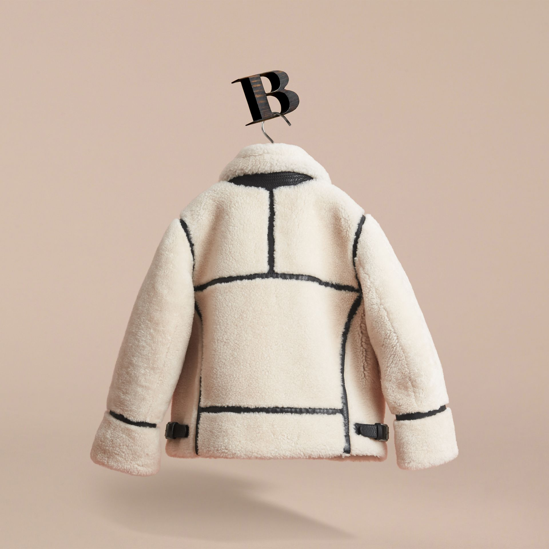 Leather Trim Shearling Aviator Jacket in Natural White - Boy | Burberry - gallery image 4