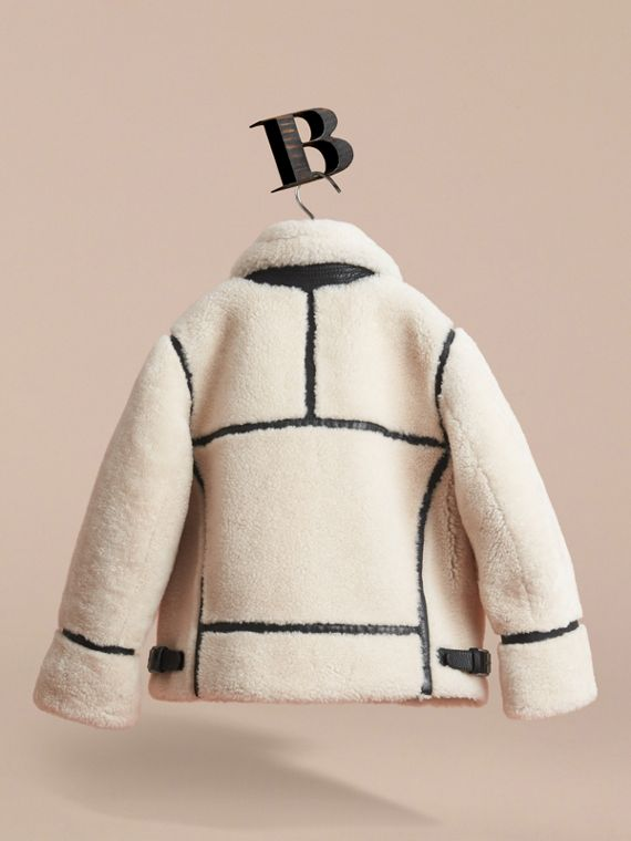 Leather Trim Shearling Aviator Jacket in Natural White - Boy | Burberry - cell image 3