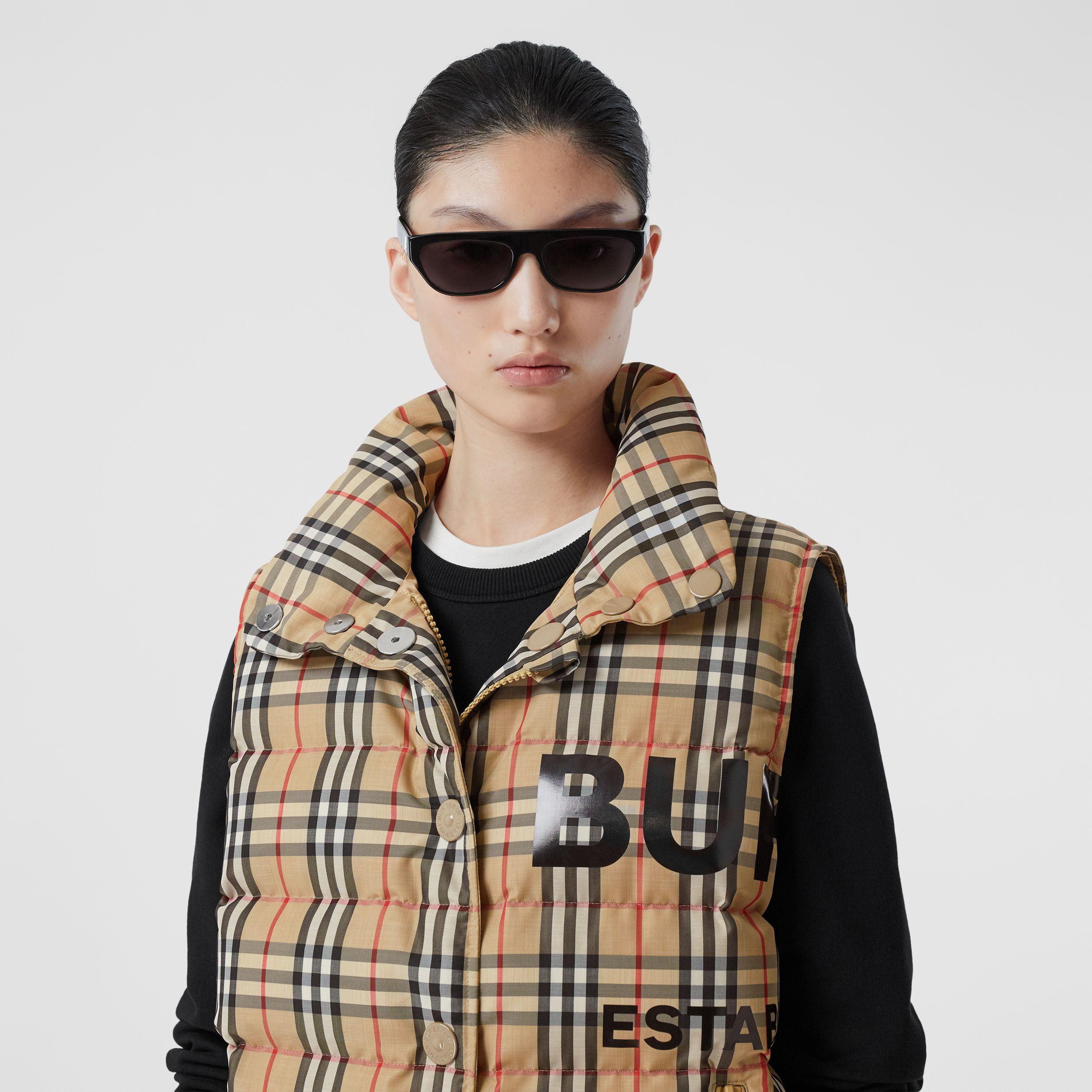 Horseferry Print Vintage Check Puffer Gilet in Archive Beige - Women | Burberry - 2