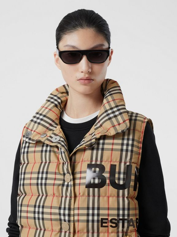 Horseferry Print Vintage Check Puffer Gilet in Archive Beige - Women | Burberry Singapore - cell image 1