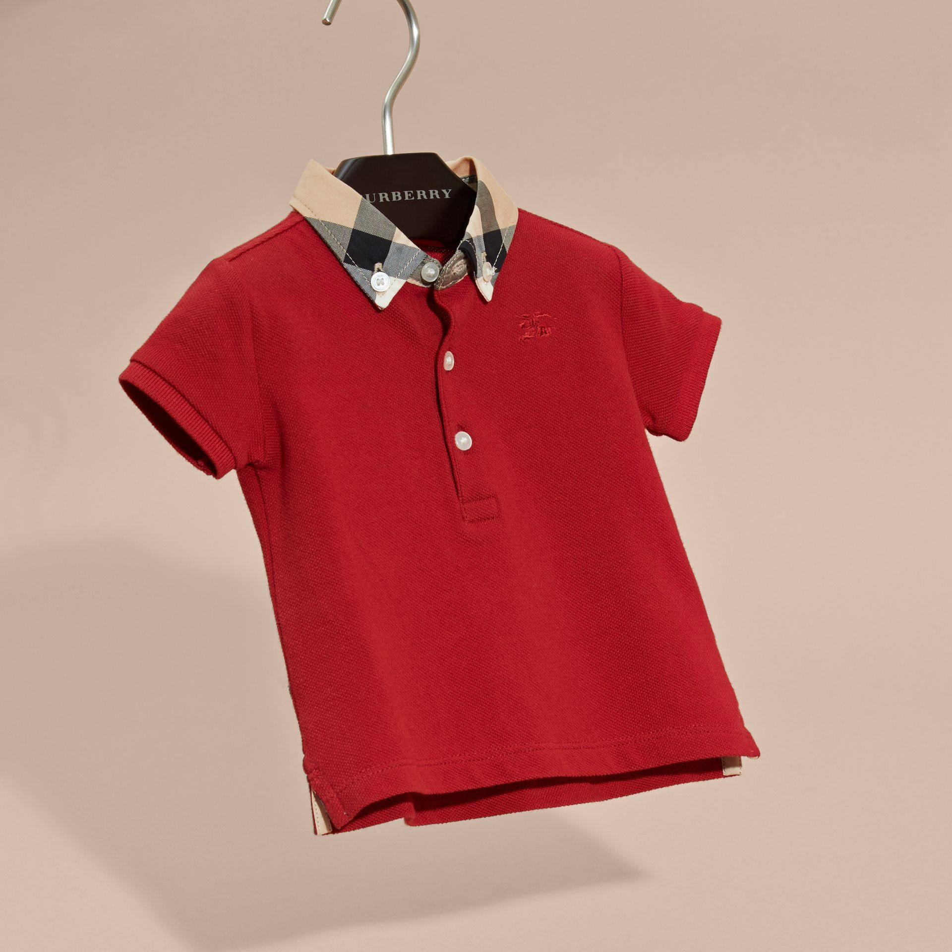 Check Collar Cotton Polo Shirt in Military Red | Burberry Australia - gallery image 3