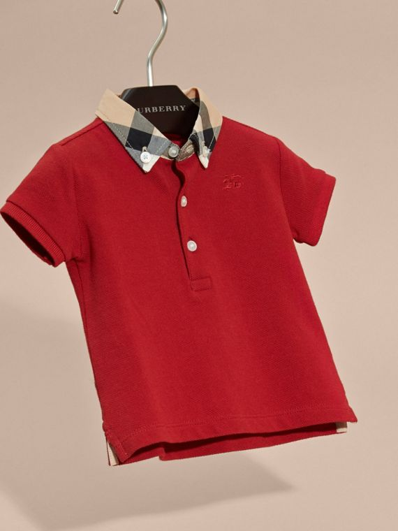 Check Collar Cotton Polo Shirt in Military Red | Burberry Australia - cell image 2