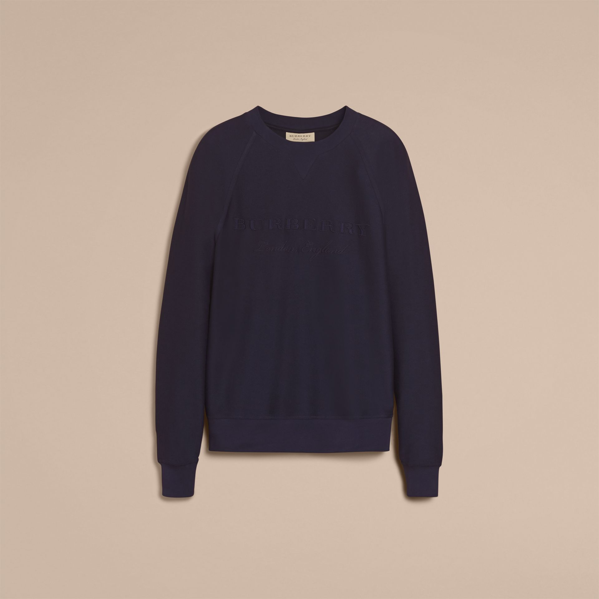 Embroidered Motif Cotton-blend Jersey Sweatshirt Navy - gallery image 4