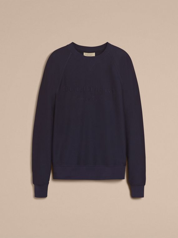 Embroidered Motif Cotton-blend Jersey Sweatshirt Navy - cell image 3