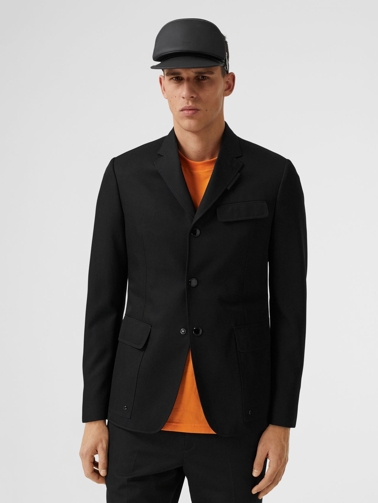 Technical Wool Tailored Jacket in Black