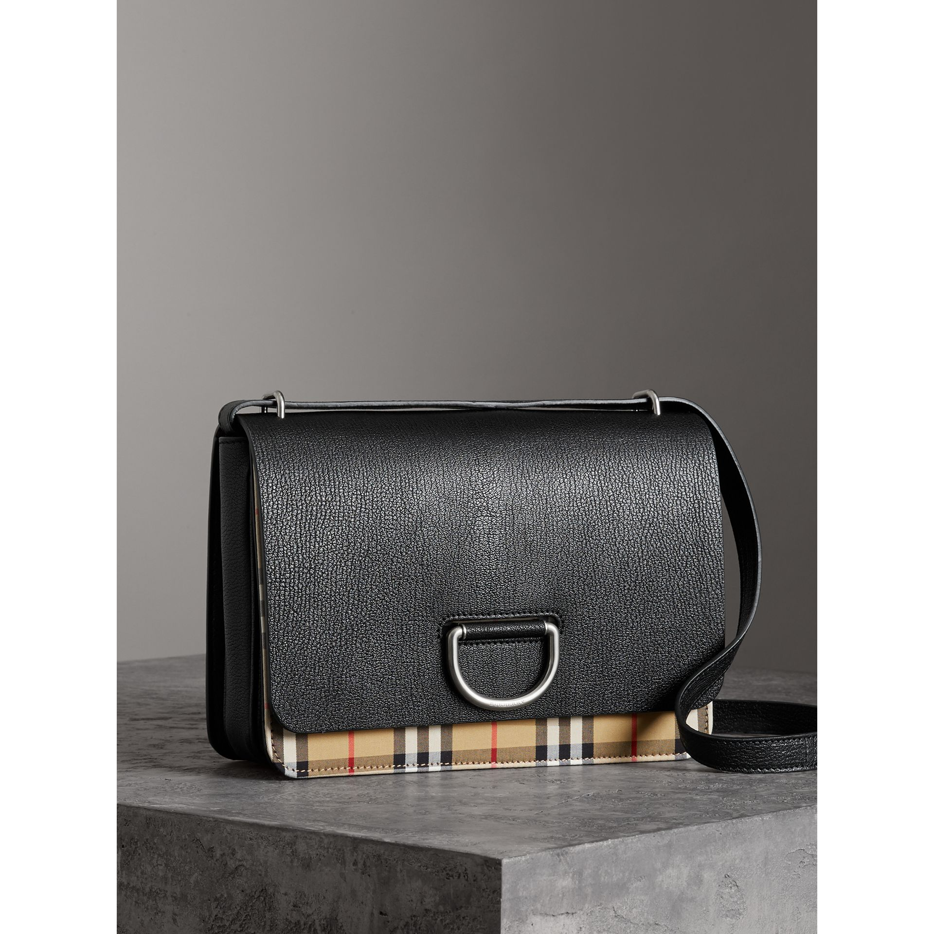 The Medium Vintage Check and Leather D-ring Bag in Black - Women | Burberry - gallery image 4