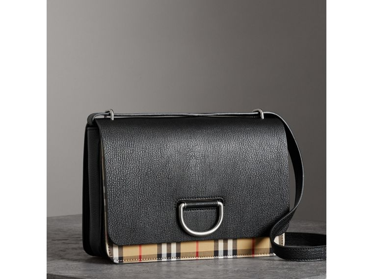 The Medium Vintage Check and Leather D-ring Bag in Black - Women | Burberry - cell image 4