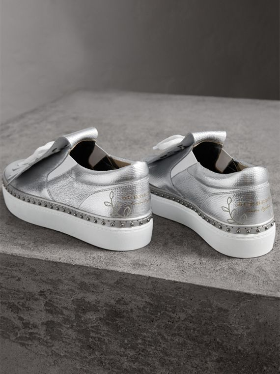 Kiltie Fringe Metallic Leather Trainers in Silver - Women | Burberry - cell image 2