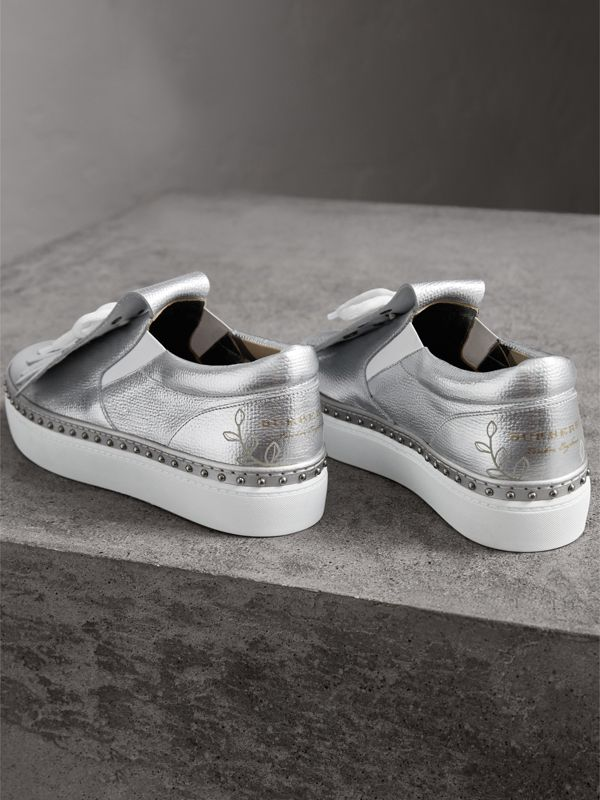 Kiltie Fringe Metallic Leather Sneakers in Silver - Women | Burberry - cell image 3