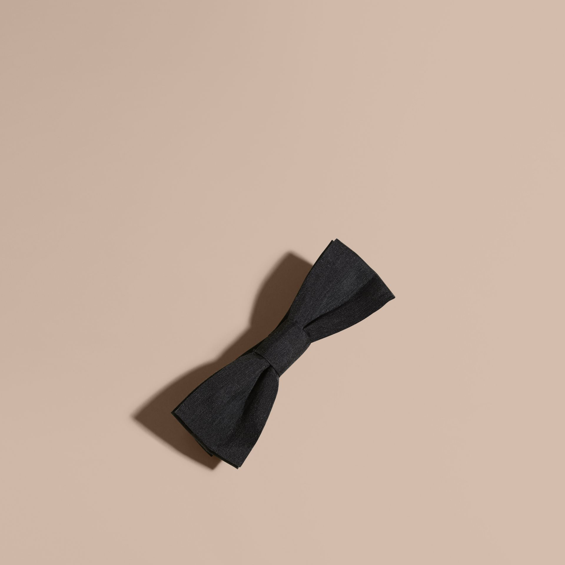 Silk Bow Tie in Black | Burberry - gallery image 1