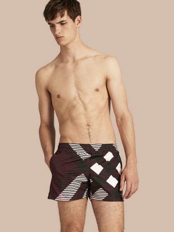 Abstract Check Swim Shorts