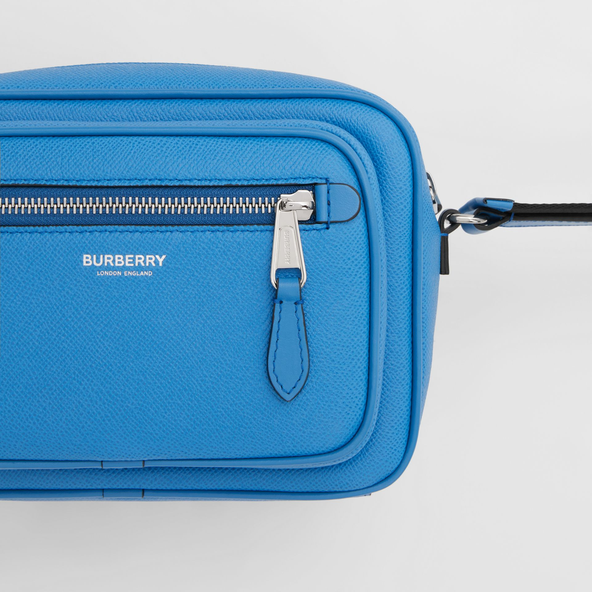 Grainy Leather Crossbody Bag in True Blue - Men | Burberry - gallery image 1