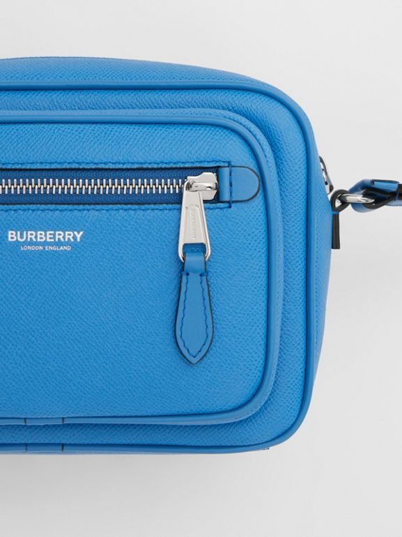 Grainy Leather Crossbody Bag in True Blue - Men | Burberry United Kingdom - cell image 1