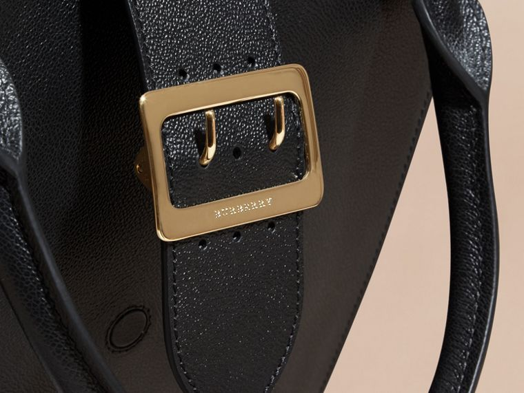 Black The Medium Buckle Tote in Grainy Leather Black - cell image 1