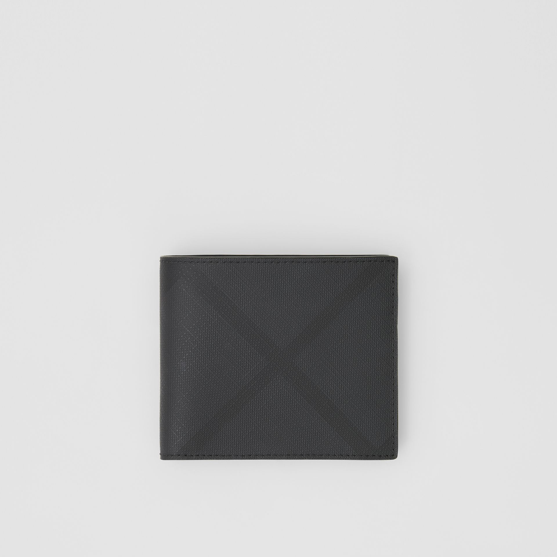 London Check International Bifold Coin Wallet in Dark Charcoal - Men | Burberry - gallery image 0