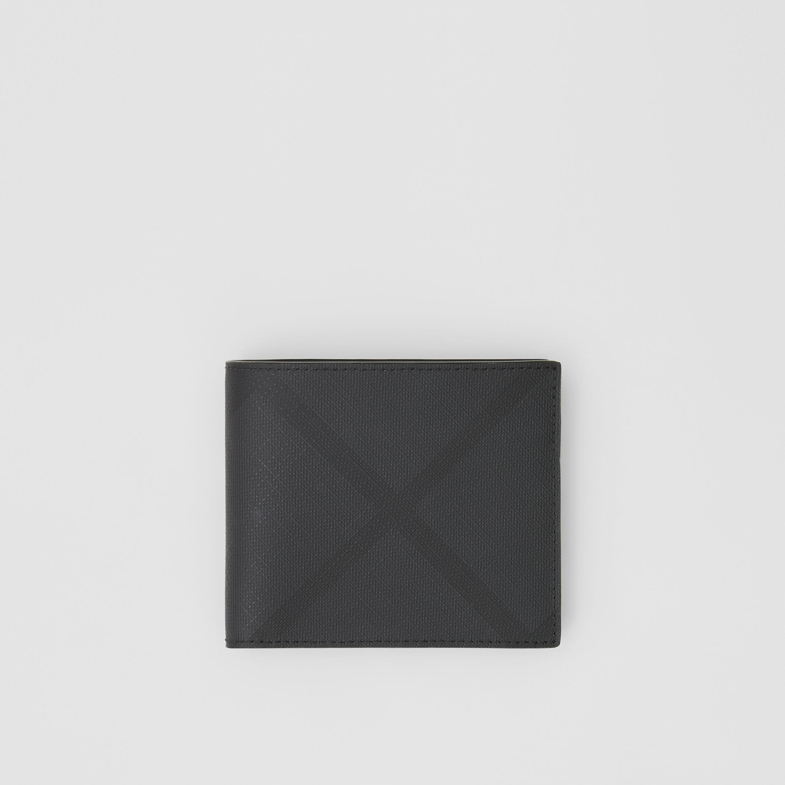 London Check International Bifold Coin Wallet in Dark Charcoal - Men | Burberry United States - 1