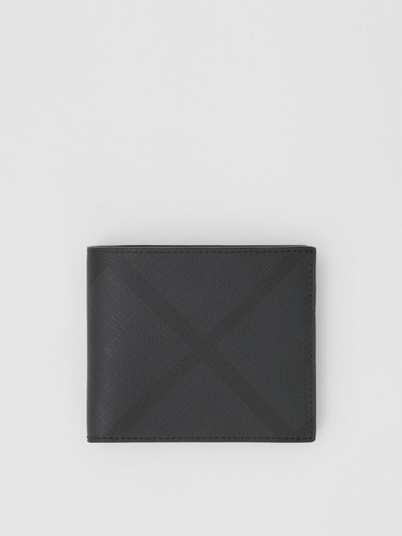 London Check International Bifold Coin Wallet in Dark Charcoal