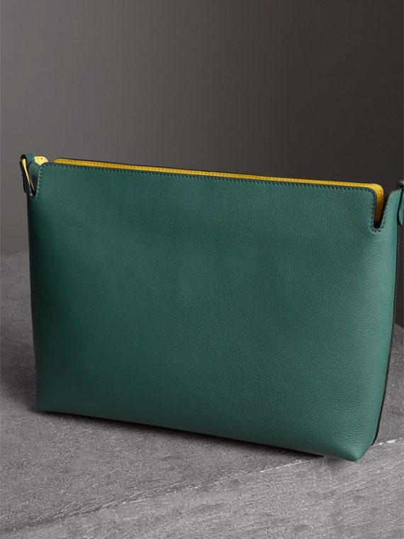Large Tri-tone Leather Clutch in Black/sea Green - Women | Burberry - cell image 2