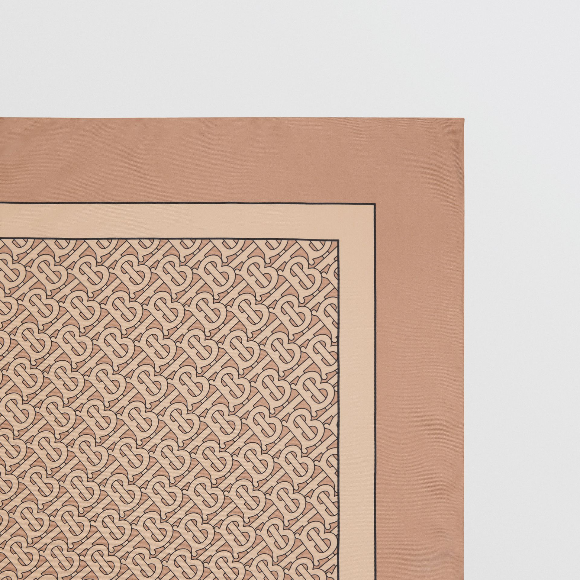 Monogram Print Silk Square Scarf in Pale Camel | Burberry Hong Kong S.A.R - gallery image 1