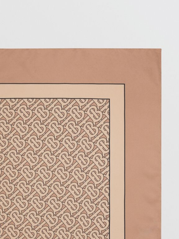 Monogram Print Silk Square Scarf in Pale Camel | Burberry - cell image 1