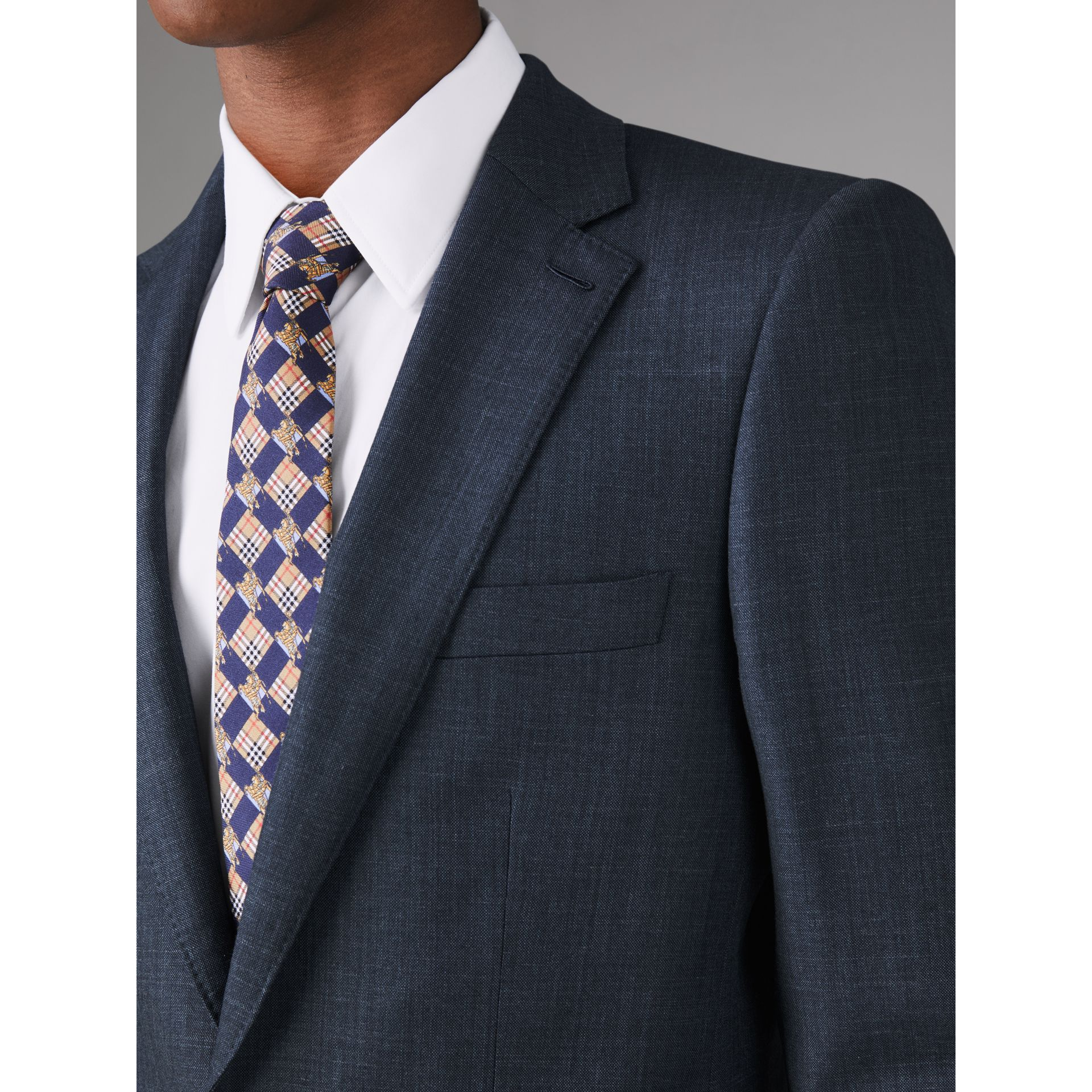 Slim Fit Wool Silk Linen Suit in Bright Navy - Men | Burberry Singapore - gallery image 5