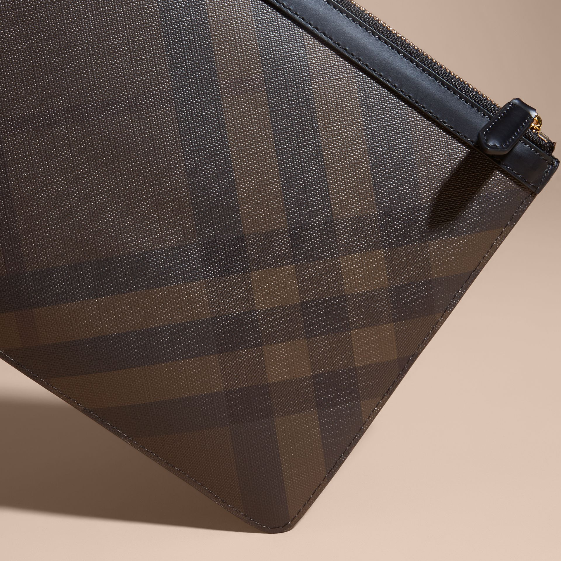 Zipped London Check Pouch in Chocolate/black - Men | Burberry - gallery image 4
