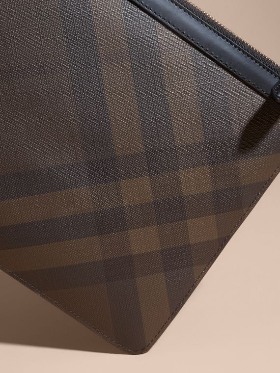 Zipped London Check Pouch in Chocolate/black - Men | Burberry - cell image 3