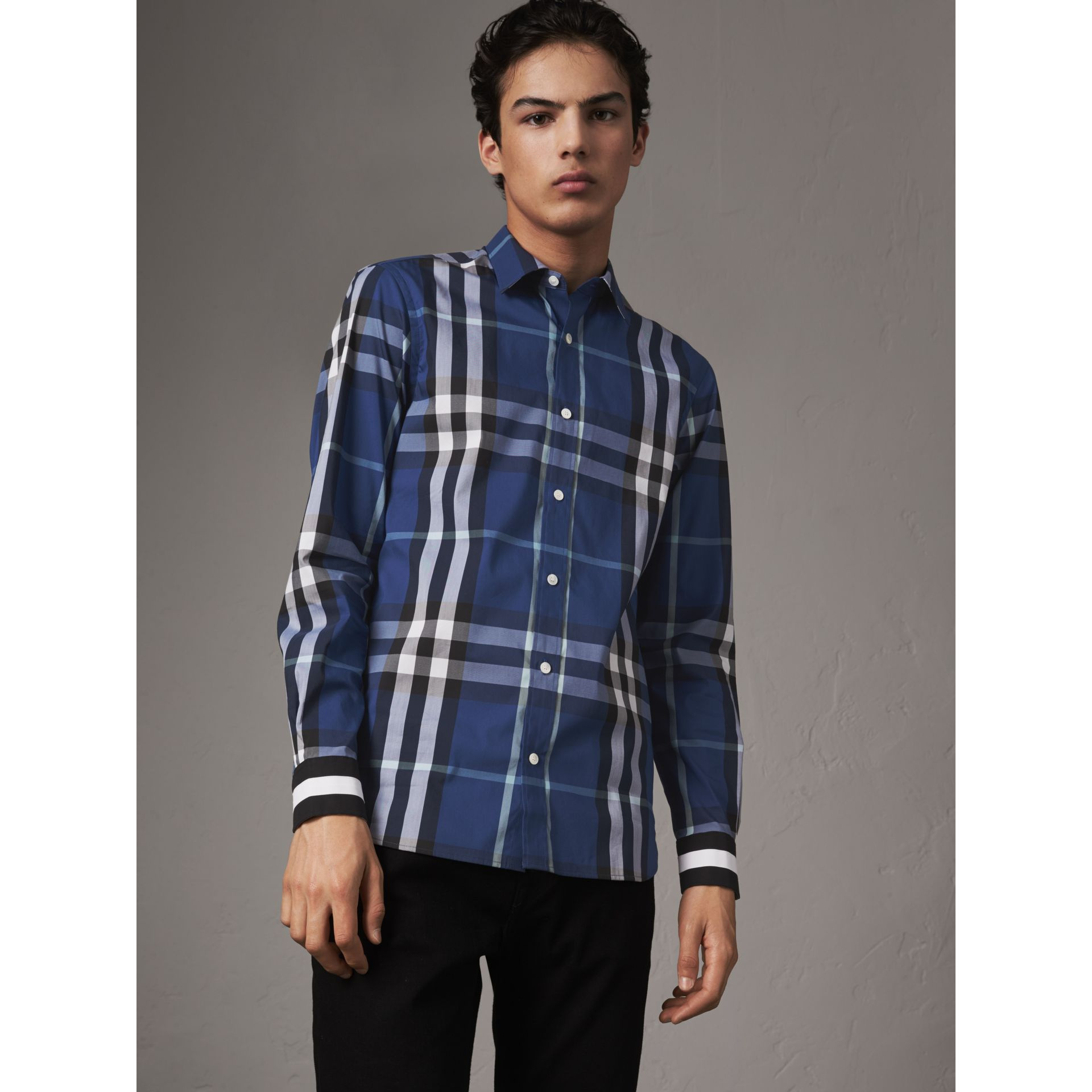 Striped Cuff Check Cotton Blend Shirt in Cobalt Blue - Men | Burberry Singapore - gallery image 4