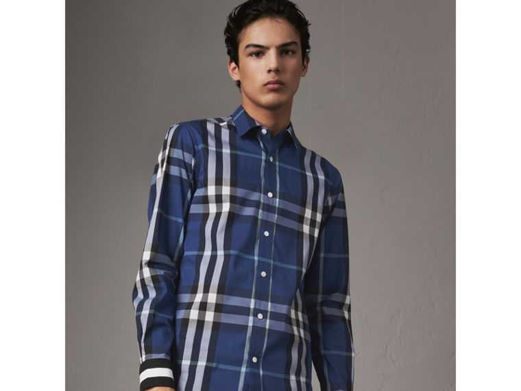 Striped Cuff Check Cotton Blend Shirt in Cobalt Blue - Men | Burberry Hong Kong - cell image 4